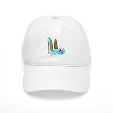 Turquoise Lace Stilettos and Rose Art Baseball Baseball Cap