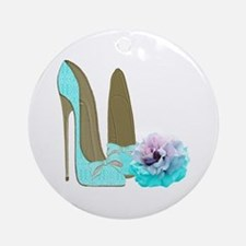 Turquoise Lace Stilettos and Rose Art Ornament (Ro