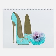 Turquoise Lace Stilettos and Rose Art Wall Calenda