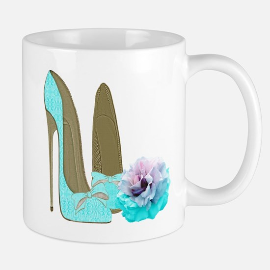 Turquoise Lace Stilettos and Rose Art Mugs
