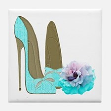 Turquoise Lace Stilettos and Rose Art Tile Coaster