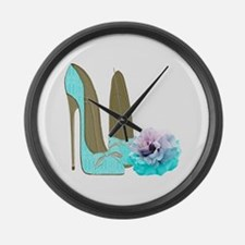 Turquoise Lace Stilettos and Rose Art Large Wall C