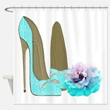 Turquoise Lace Stilettos and Rose Art Shower Curta
