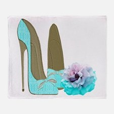 Turquoise Lace Stilettos and Rose Art Throw Blanke