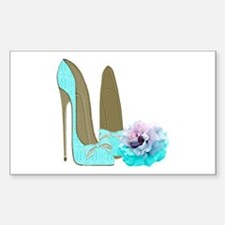 Turquoise Lace Stilettos and Rose Art Decal