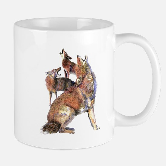 Watercolor Howling Coyotes Animal Art Mugs