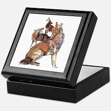 Watercolor Howling Coyotes Animal Art Keepsake Box