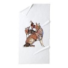 Watercolor Howling Coyotes Animal Art Beach Towel