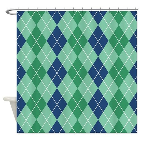 Blue And Green Argyle Shower Curtain By Jqdesigns