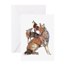 Watercolor Howling Coyotes Animal Art Greeting Car