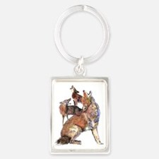 Watercolor Howling Coyotes Animal Art Keychains