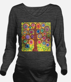 Yellow Tree of Life Long Sleeve Maternity T-Shirt