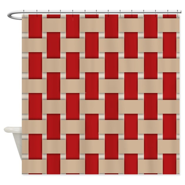 Red And Beige Weave Shower Curtain By Jqdesigns