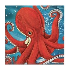 Octopus Painting Tile Coaster