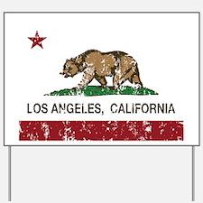 california flag los angeles distressed Yard Sign