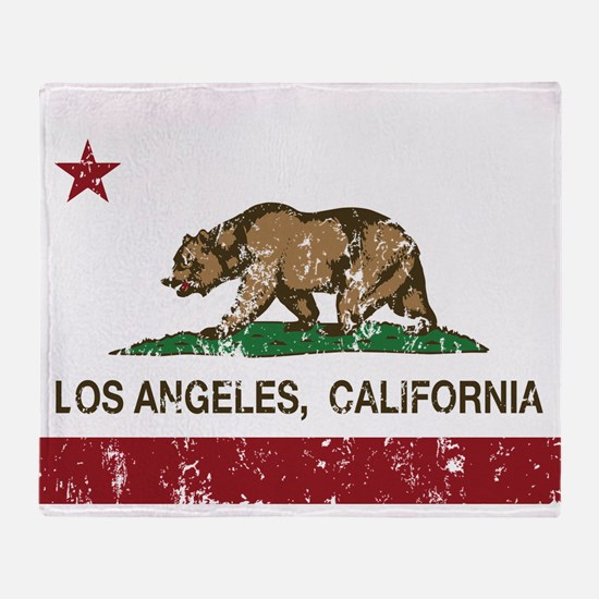 california flag los angeles distressed Throw Blank