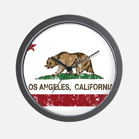 california flag los angeles distressed Wall Clock