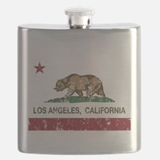 california flag los angeles distressed Flask