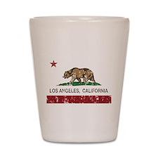 california flag los angeles distressed Shot Glass
