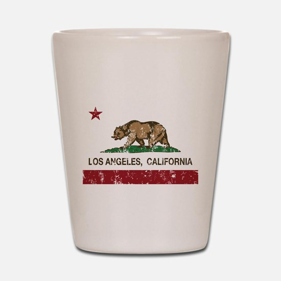california flag los angeles distressed Shot Glass