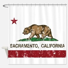 california flag sacramento distressed Shower Curta