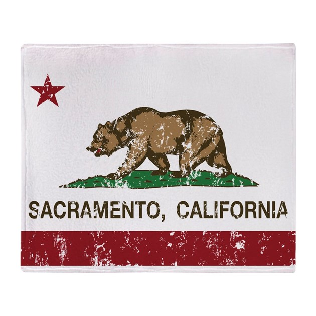 California Flag Sacramento Distressed Throw Blanke By