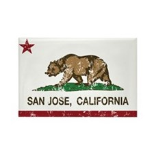 california flag san jose distressed Magnets