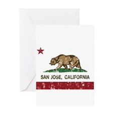 california flag san jose distressed Greeting Cards