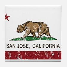 california flag san jose distressed Tile Coaster