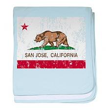 california flag san jose distressed baby blanket