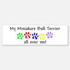 Miniature Bull Terrier Walks Bumper Bumper Bumper Sticker