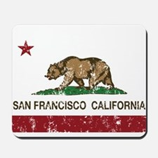 california flag san francisco distressed Mousepad