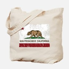 california flag san francisco distressed Tote Bag