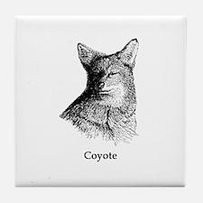 Coyote (line art) Tile Coaster