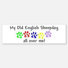 Old English Sheepdog Walks Bumper Bumper Bumper Sticker