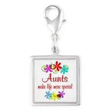Special Aunt Silver Square Charm