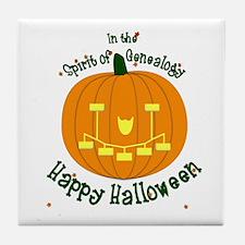 Genealogy Halloween Pumpkin Tile Coaster