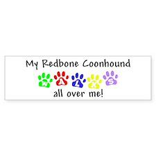 Redbone Coonhound Walks Bumper Bumper Sticker