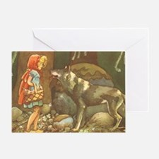 Vintage Little Red Riding Hood Greeting Card