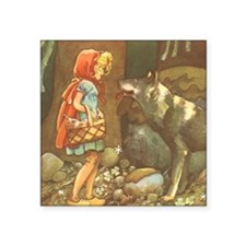 "Vintage Little Red Riding H Square Sticker 3"" x 3"""