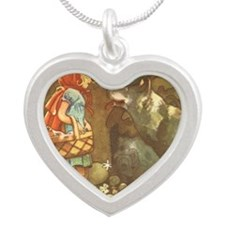 Vintage Little Red Riding Ho Silver Heart Necklace