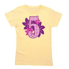 Birthday Flower Five Girl's Tee