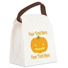 CUSTOM TEXT Jack O Lantern Canvas Lunch Bag