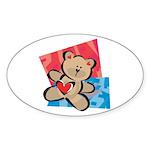 Love Bear with Heart Oval Sticker