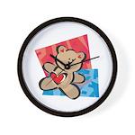 Love Bear with Heart Wall Clock