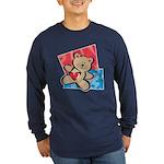 Love Bear with Heart Long Sleeve Dark T-Shirt