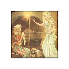 "Vintage Cinderella Fairy Ta Square Sticker 3"" x 3"""