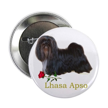 Lhasa Apso Heart Love Valentine Button