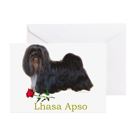 Lhasa Apso Heart Love Valentine Greeting Cards (Pa