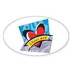 I Love You Oval Sticker